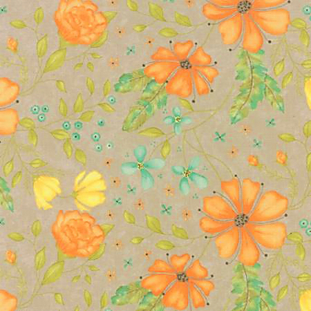 Moda Refresh by Sandy Gervais, large floral on tan background 17860-11
