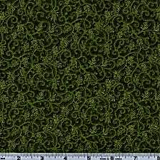 Moda Magnolia Metallic Green and Gold Swirl 46-13