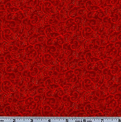 Moda Magnolia Metallic Red and Gold Swirl 46-11
