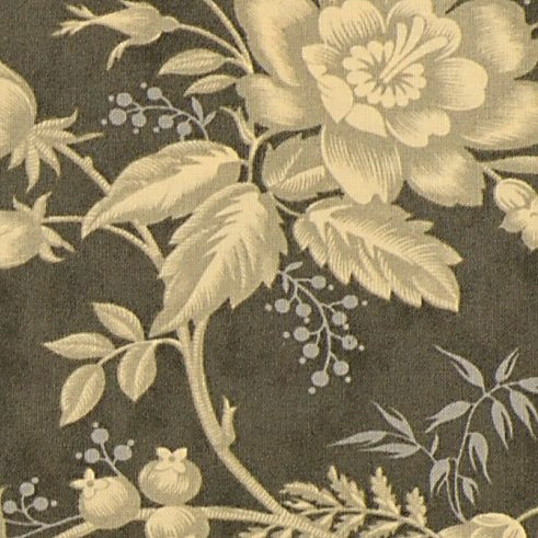 Moda Atelier Large Cream Floral on Grey Background 44052-26