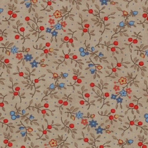 Moda Grant Park Brown with Mini Red and Blue Floral Print 14771-18
